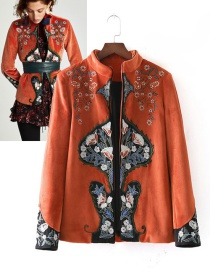 Trendy Orange Flower Pattern Decorated Embroidery Coat