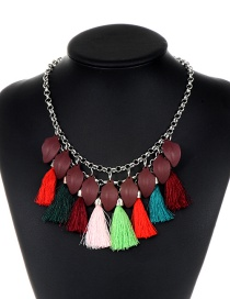 Fashion Multi-color Leaf Decorated Simple Tassel Necklace