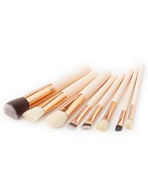 Fashion White Round Shape Decorated Makeup Brush(8pcs)