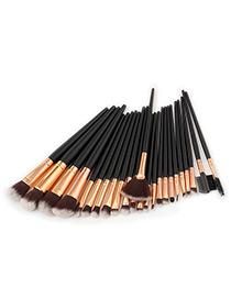 Fashion Black Round Shape Decorated Makeup Brush(24pcs)