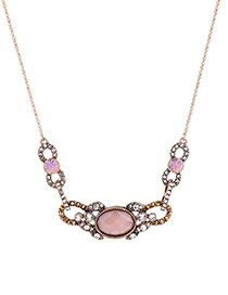 Vintage Pink Oval Shape Gemstone Decorated Necklace