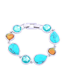Fashion Blue Oval Shape Gemstone Decorated Bracelet