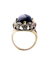 Fashion Black Gemstone Decorated Hollow Out Design Ring