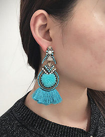 Fashion Blue Tassel Decorated Pure Color Earrings