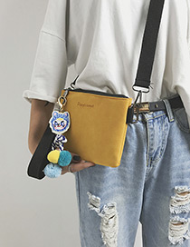 Fashion Yellow Cat Pendant Decorated Pure Color Shoulder Bag