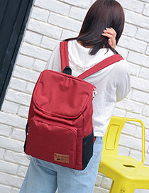 Fashion Claret Red Pure Color Decorated Traveling Backpack