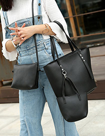 Fashion Black Pure Color Decorated Shoulder Bag(3pcs)