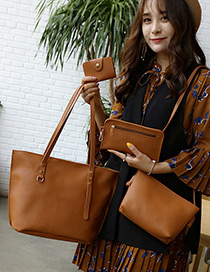 Fashion Light Brown Rivet Decorated Pure Color Shoulder Bag (4pcs)