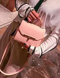 Fashion Pink Buckle Decorated Square Shape Handbag