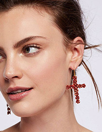 Fashion Red Rose Decorated Cross Shape Design Earrings