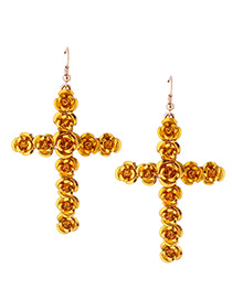 Fashion Yellow Rose Decorated Cross Shape Design Earrings
