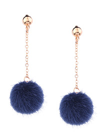 Cute Blue Fuzzy Ball Decorated Pom Earrings