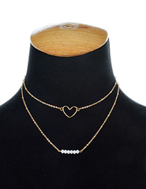 Fashion Gold Color Heart Shape Decorated Doubla Layer Necklace