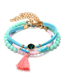 Bohemia Multi-color Tassel Decorated Doubla Layer Bracelet