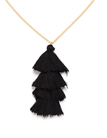 Bohemia Black Pure Color Decorated Tassel Necklace