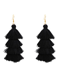 Bohemia Black Pure Color Decorated Tassel Earrings