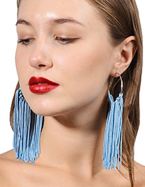 Exaggerated Blue Round Shape Decorated Tassel Earrings