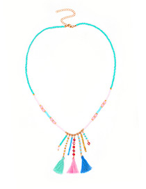 Bohemia Multi-color Tassel Decorated Necklace