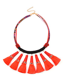 Bohemia Red Hand-woven Decorated Tassel Necklace