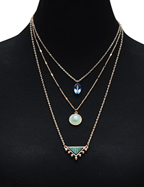 Fashion Blue Triangle Shape Decorated Multilayer Necklace