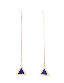 Trendy Gold Color+blue Triangle Shape Decorated Long Earrings