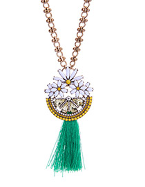 Trendy Green+gold Color Flower&tassel Pendant Decorated Long Necklace