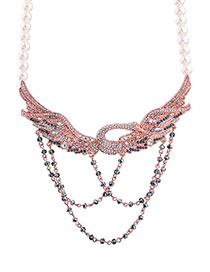 Trendy Pink Swan Shape Decorated Simple Necklace