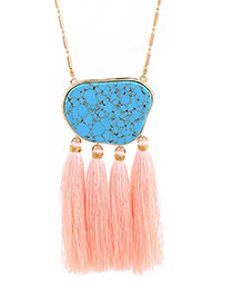 Trendy Pink+blue Gemstone&tassel Decorated Long Necklace