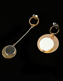 Fashion Gold Color Round Shape Decorated Asymmetric Earrings