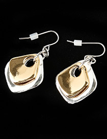 Fashion Silver Color+gold Color Geometric Shape Decorated Simple Earrings