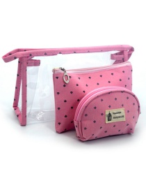 Trendy Plum Red Letter Pattern Decorated Transparent Cosmetic Bag(3pcs)