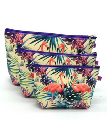 Trendy White+orange Flamingo Pattern Decorated Cosmetic Bag(3pcs)
