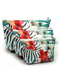 Trendy White Kapok Pattern Decorated Cosmetic Bag(3pcs)