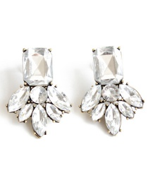 Fashion White Flower Shape Decorated Pure Color Earrings