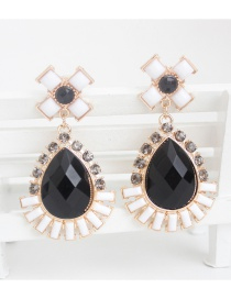 Fashion Black Water Drop Shape Diamond Decorated Earrings