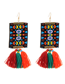 Fashion Multi-color Tassel Decorated Hand-woven Design Earrings