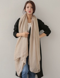 Fashion Khaki Pure Color Decorated Dual-use Scarf