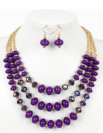 Vintage Purple Beads Decorated Multi-layer Jewelry Sets