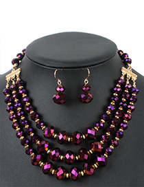 Fashion Purple Round Shape Decorated Multilayer Jewelry Sets