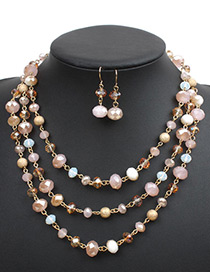 Fashion Pink Crystal Decorated Jewelry Set