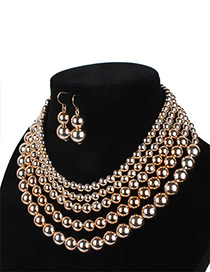 Fashion Gold Color Pearls Decorated Multi-layer Jewelry Sets