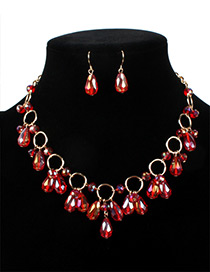 Fashion Red Water Drop Shape Decorated Jewelry Sets