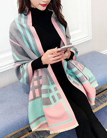 Trendy Pink+gray Grid Pattern Decorated Dual-use Scarf