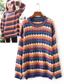 Trendy Multi-color Wave Pattern Decorated Round Neckline Sweater