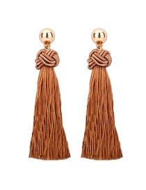 Fashion Khaki Hand-woven Decorated Tassel Earrings