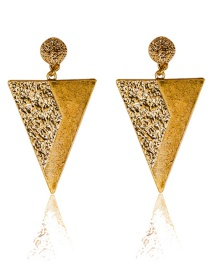 Personality Gold Color Triangle Shape Decorated Earrings
