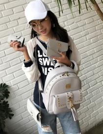 Fashion Gray Square Shape Rivet Decorated Backpack