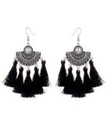 Vintage Black Metal Fan Shape Decorated Tassel Earrings