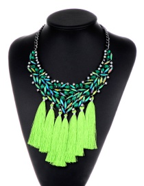 Bohemia Green Hollow Out Decorated Tassel Necklace