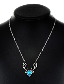 Fashion Blue Antlers Pendant Decorated Necklace